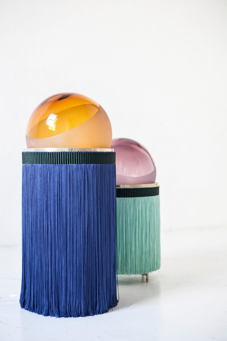 Hand-Crafted Normanna Medium Lamp in Murano Glass and Tripolino fringes by VI+M Studio For Sale
