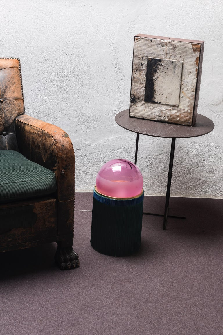 21st century VI+M studio small lamp Murano glass and tripolino fringes various colors. Designed by Studio VI+M, Normanna is a tribute to Sicily, the designer's homeland, and the richness and fullness of the colors that characterize its art and