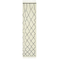 Norris, Bohemian Shaggy Moroccan Hand Knotted Area Rug, Parchment