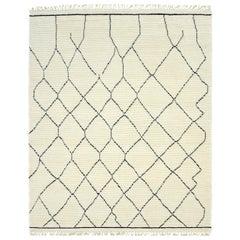Norris, Bohemian Shaggy Moroccan Handmade Area Rug, Parchment