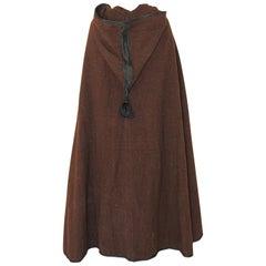 North Africa Moroccan Berber Tribal Burnous Brown Wool Cape