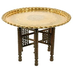North African Brass Tray Table, 20th Century
