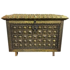North African Moorish Wood and Brass Decorated Box Coffer
