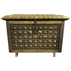 North African Moorish Wood and Hammered Brass Decorated Box Coffer