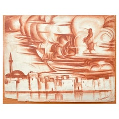 """""""North African Skyline with Mosque,"""" Stunning Drawing in Sanguine by Reznikoff"""