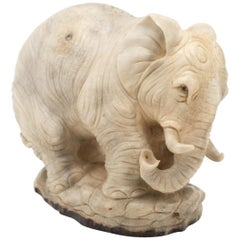 North American Moose Antler Carving of Elephant