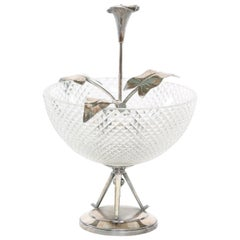 North American Silver Plated / Cut Crystal Centerpiece