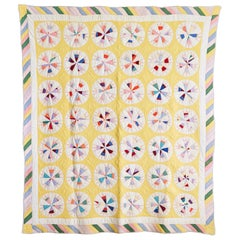 "North American Vintage Yellow and Pastel ""Compass Variation"" Patchwork Quilt"