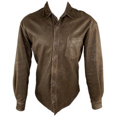 NORTH BEACH LEATHER Chest Size XS Brown Solid Leather Shirt Jacket Jacket
