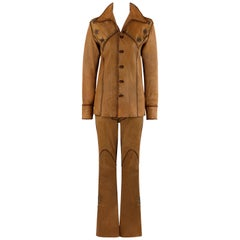 NORTH BEACH LEATHER Couture 1976 2pc Deerskin Handmade Western Jeweled Suit Set