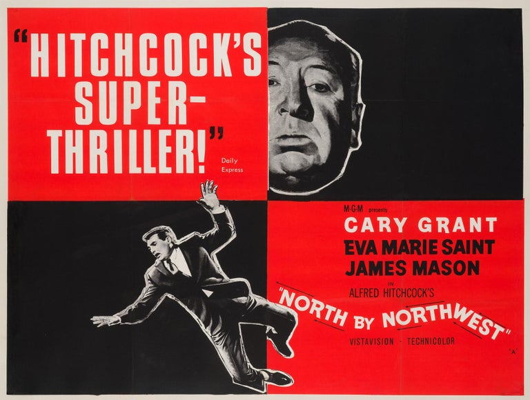Looking for a very special poster for a special someone... head North by Northwest! 'Hitchcock's Super-Thriller!'  We adore this quotes version poster for the Hitchcock Classic. We believe it to be an early re-release, either late in 1959 or very
