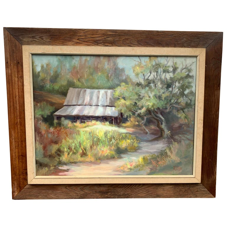 """""""North Carolina Barn"""", Oil On Canvas by D. Elles, 1915 For Sale"""