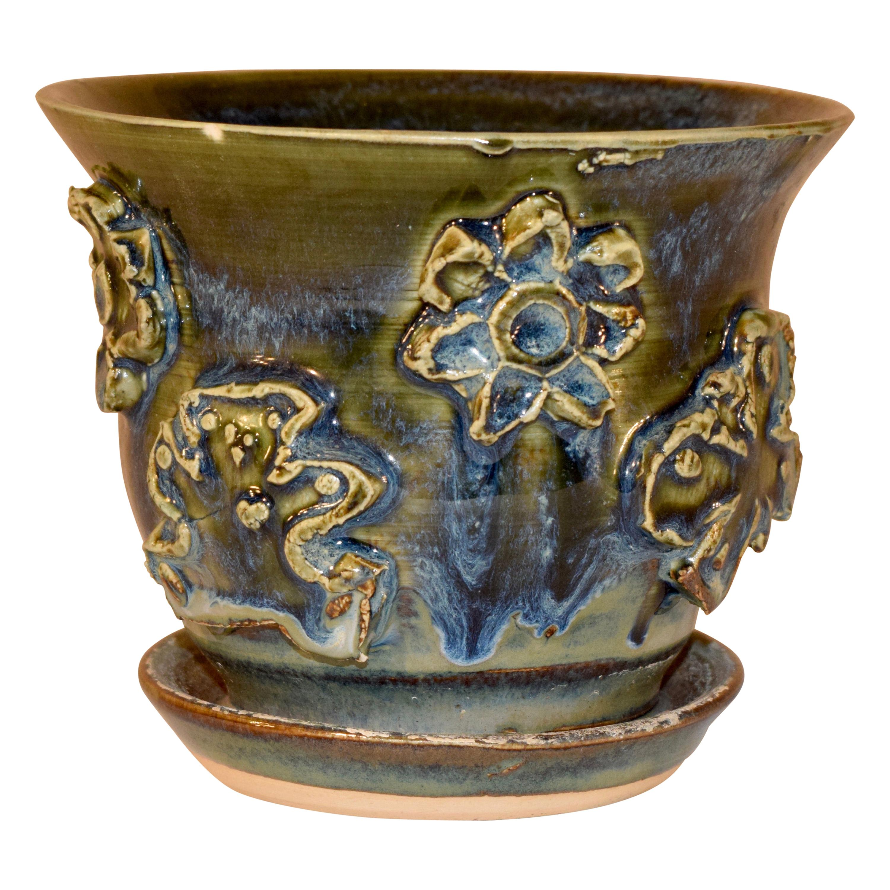 North Carolina Pottery Flower Pot with Attached Saucer