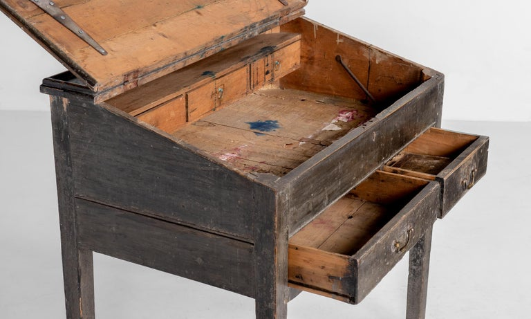 Painted North County Pine Illustrators Desk, England, circa 1880 For Sale