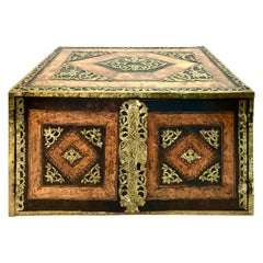 North European 17th Century Brass Mounted Elm and Walnut Table Cabinet