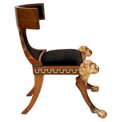 19th Century North European Beech and Parcel-Gilt Klismos Chair