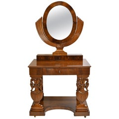 North German Biedermeier Dressing/ Console Table in Mahogany with Mirror, c 1825