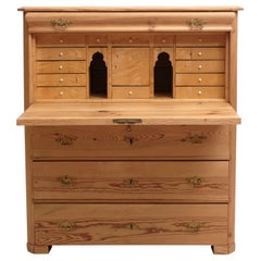 North German Fall-Front Secretary in Pine and Birch, circa 1850