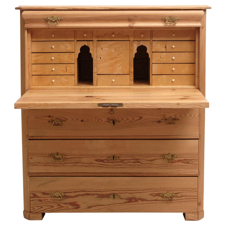 North German Fall-Front Secretary in Pine and Birch, circa 1850 For Sale