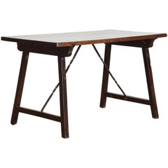 North Italian Late Baroque Walnut & Wrought Iron Folding Table, Late 17th Cen.