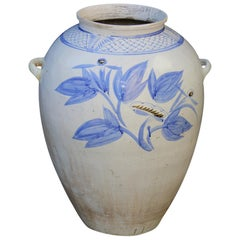 North Korean Blue and White Jar with Flowers