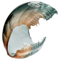 North Sea Morning Wave Form, a Teal & Apricot Glass Sculpture by Graham Muir
