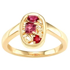 North South Ruby and Rhodolite Stones Cluster Ring 14 Karat Yellow Gold