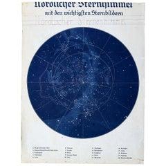 Northern Celestial Hemisphere, Vintage Wall Chart