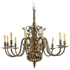 Northern European Baroque Style Brass Chandelier, circa 1920