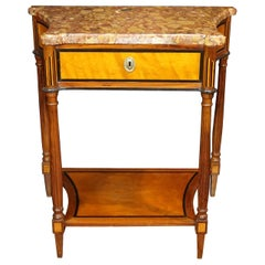 Northern European Inlaid Satinwood Neoclassical Marble-Top Console Table
