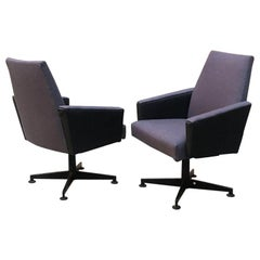 Northern European Mid-Century Modern Gray Fabric and Metal Armchairs, 1960s