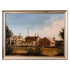 Northern European Oil on Canvas Painting of a Factory Complex, circa 1850
