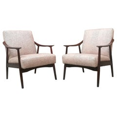 Northern European Beech and Colored Fabric Armchairs, 1960