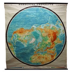Northern Hemisphere of the Earth Rollable Map Vintage Wall Chart