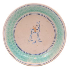 Northern Italian 1910s Pottery Platter with Blue Deer Motif and Weathered Patina