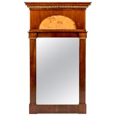 Northern Italian Neoclasical Walnut Mirror with Giltwood Decoration