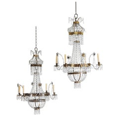 Northern Italian Neoclassical Pair Brass and Glass 4-Light Chandeliers