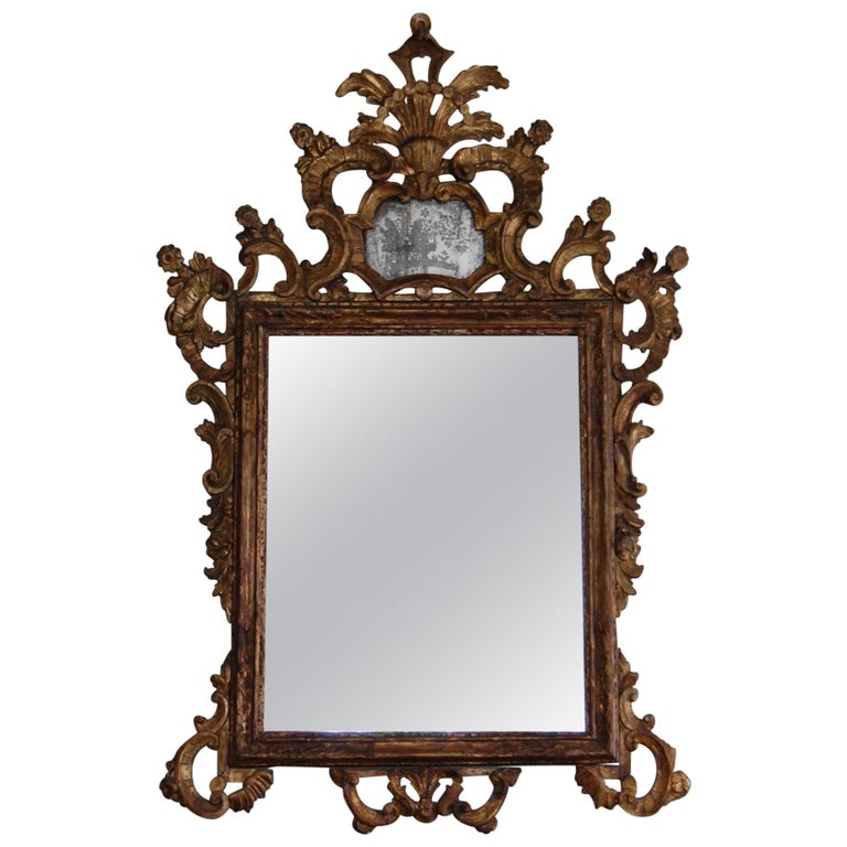Northern Italian Rococo Giltwood Mid-18th Century Mirror For Sale
