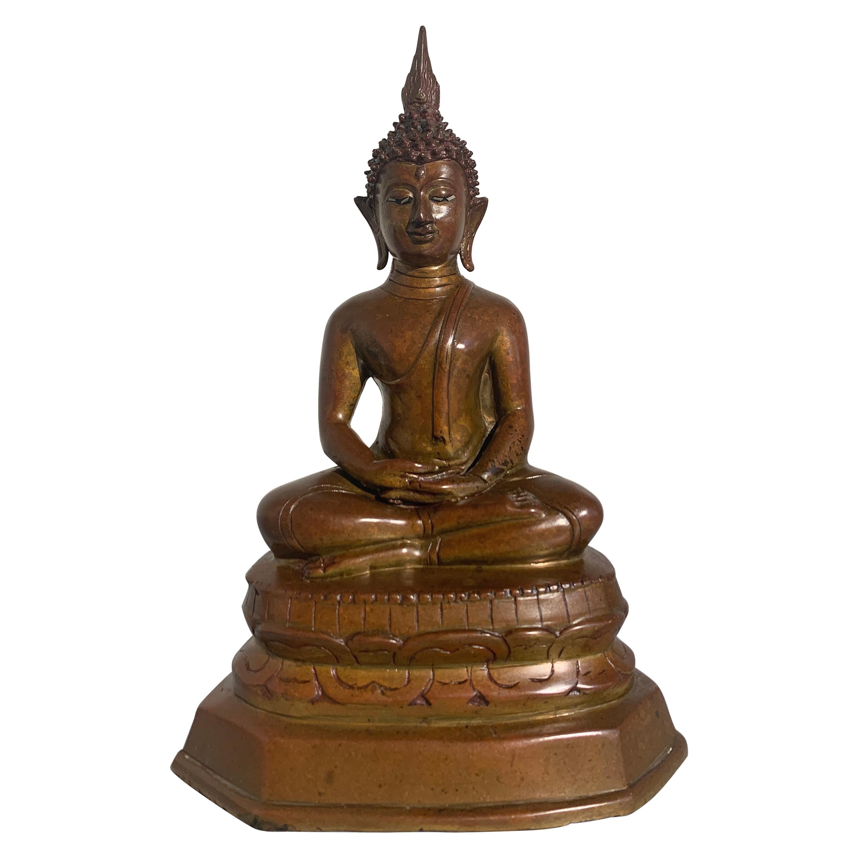 Northern Thai Lan Na Bronze Buddha Seated in Meditation, 15th-16th Century