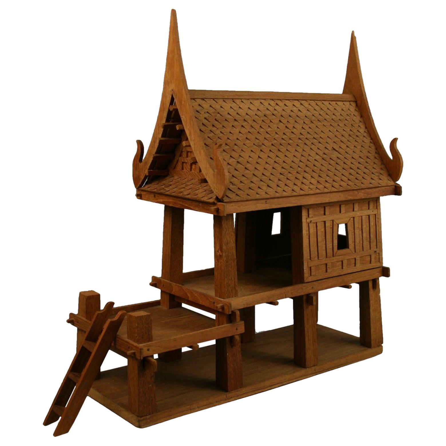 Northern Thailand Teak Wood House Model
