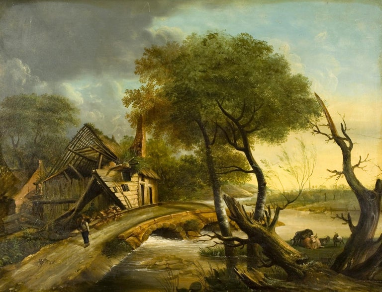 Oil on board. Rural landscape with a watercourse, a stone bridge and a house in ruins, located among trees, animated by the presence of a person and without apparent subject matter that is inspired by Baroque works from Northern Europe. Given the