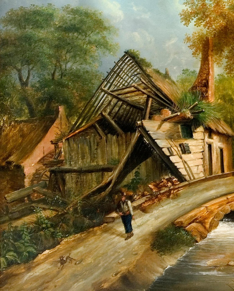 Baroque Northeuropean Landscape with Ruins, 17th Century Style, Early 20th Century For Sale