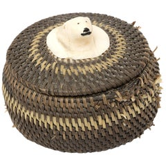 Northwest Coast Baleen Basket with Carved Polar Bear by Joe Sikvayugak 'Eskimo'