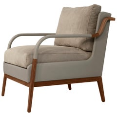 Norway Armchair, Curved Arm with Leather and Fabric Blend Upholstered Chair