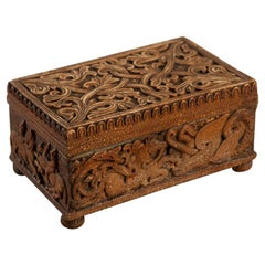 Norwegian Baroque Box, Carved Mythical Creatures + Figurative Scenes, Circa 1740