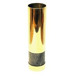 Norwegian Big Brass and Stone Vase by Saulo, 1970s, Norway