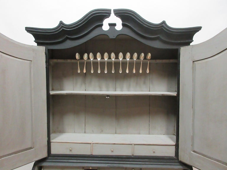 Late 18th Century Norwegian Black Secretary Hutch For Sale