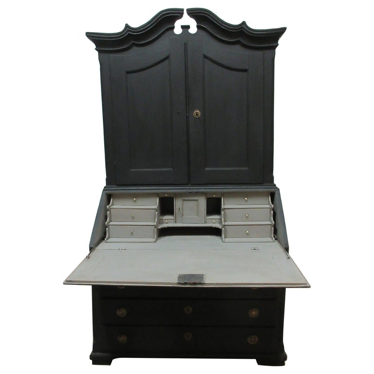 Norwegian Black Secretary Hutch For Sale