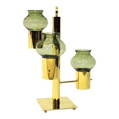 Norwegian Brass Candleholder Three Arms with Green Glass Colseth 1960s