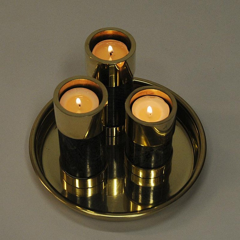 Scandinavian Modern Norwegian Candleholder Set of Three on a Brass Plate by Saulo, Sulitjelma, 1970s For Sale
